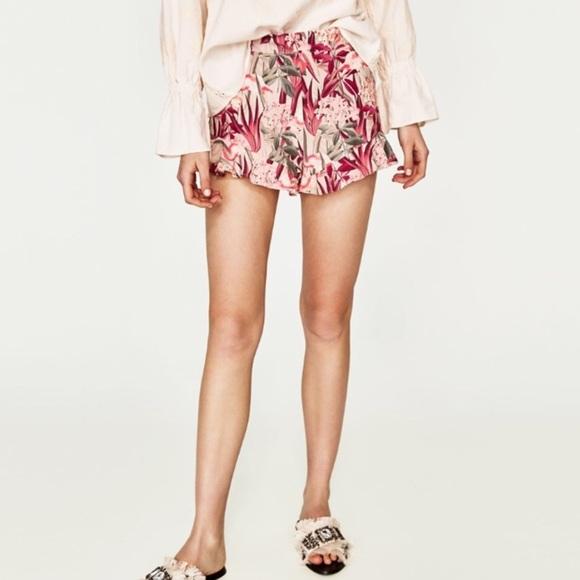 Zara Pants - Zara High Waist Flamingo Shorts